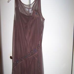 Brown Midi dress with beading